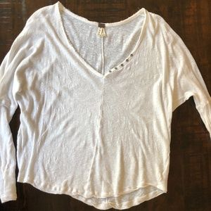 Free People White Buttoned Dolman Henley Top